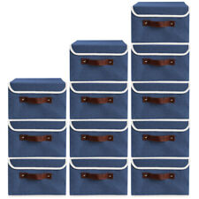 12Pack Foldable Home Storage Bin Box Linen Fabric Container Basket with Lid Blue