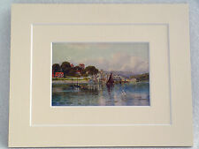 SALCOMBE SOUTH DEVON VERY RARE DOUBLE MOUNTED VINTAGE PRINT 1907 HANNAFORD 10X8