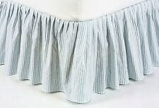 BLUE TICKING ** King ** BEDSKIRT : COUNTRY VINTAGE STRIPES DUST RUFFLE BED SKIRT