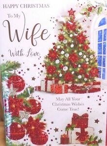 WIFE CHRISTMAS CARD ~ Glittered Traditional Classic Christmas Tree