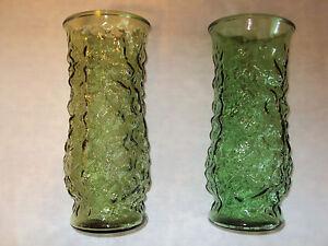 Glass Vase Set of 2 Green