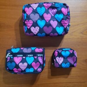 LeSportsac 3 Piece Cosmetic Pouch Bag Set MY HEART Large Travel Small