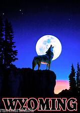 Wolf Howling Wyoming Yellowstone Park United States Travel Advertisement Poster