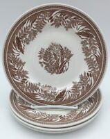 Martha Stewart Danish Fern Brown Transfer Ware 4 Salad PlatesBurleigh England