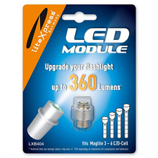 LiteXpress LXB404 LED Upgrade Module, 360 Lumens for 3 - 6 C/D Cell Maglite Torc