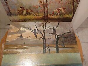 "3 Vintage Litho Prints on cardboard Trocey Boheleach Wood 24""x12"" waterfowl/hunt"