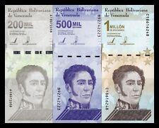 B-D-M Venezuela Set 200000 500000 1000000 Bolívares 2020 (2021) Pick New SC UNC