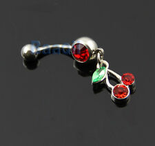 14G Jeweled Crystal cherry surgical steel belly navel ring Red Green Gems EW