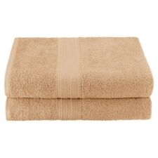 Set of 2 Camel Ring Spun Combed Cotton Soft and Absorbent Bath Sheet Towels