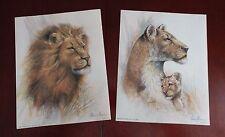 "2 Ruane Manning Lions lithos ""Grandeur""  & ""Maternal Protection"" Lion"