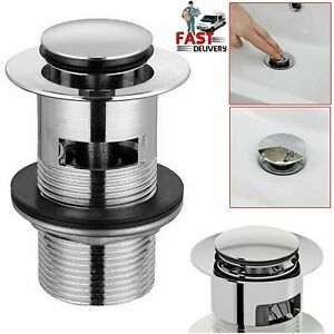 Chrome Slotted Click Clack Basin Sink Tap Push Button Waste Disc Pop Up Plug
