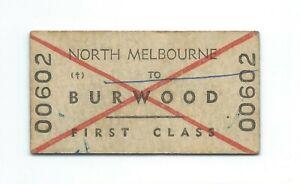 NTH MELBOURNE - BURWOOD 1st Class Single Ticket