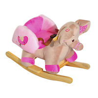 Baby Rocking Horse Kids Toy Animal Ride on Rocker Seat Wood Elephant w/ 32 Songs
