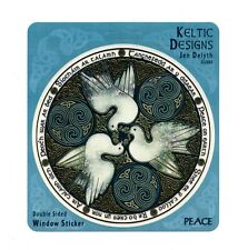 A400 - Celtic Doves Art Decal Window Sticker / Celtic Art / Jen Delyth