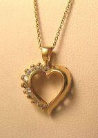.33CT CZ Cubic Zirconia Open Heart Pendant 14K Yellow Gold Vintage 2.3gr