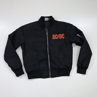Women's ACDC Bomber Jacket Size Small Black Full Zip Retro Style