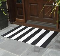 NANTA Black and White Striped Rug Cotton Woven Washable Indoor Outdoor Rug