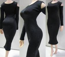 "Black Fishtail Gown Exposed Shoulders Long Dress 1/6 F 12"" PH HT TTL Girl Figure"