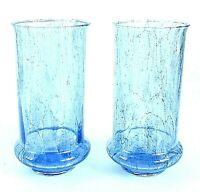 Vintage INDUSTRIA ARGENTINA Hand Crafted Glass VASES CANDLE HOLDERS Set BLUE
