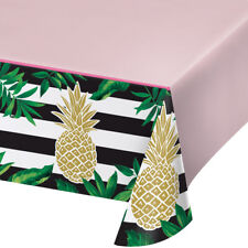 Luxury Golden Pineapple Tropical Party Plastic Tablecover Gold foil Finish