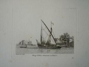 BELLE GRAVURE PAYSAGE MARINE BATEAU VOILIER VAISSEAU ALLEGE D'ARLES POLACRE 1810