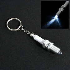 Mens Fashion White LED Key Chain Spark Plug Key Chain Keychain Car Parts Keyring