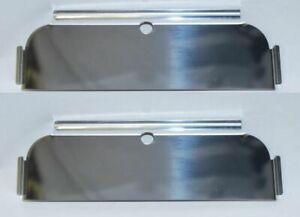"7X6"" Headlight Headlamp Bulbs Chrome Stainless Half Moons Trim Covers Shields"