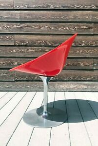 ERO |S| by Kartell RED Lucite Swivel Chair Phillippe Starck Made in Italy
