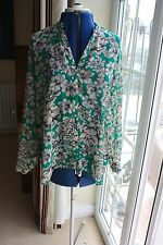 Dorothy Perkins size 14 Green Cream Floral Chiffon Floaty long sleeve blouse