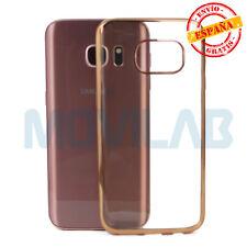 Funda gel / TPU Samsung G930 Galaxy S7 transparente borde metalizado dorado