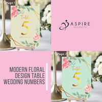 Personalised Floral Theme Wedding Table Numbers - Name Place Cards - A5, A6, A7