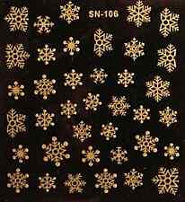 Nailart stickers ongles autocollants scrapbooking: flocons de neige dorés