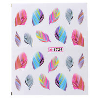 DIY 3D Water Transfer Nail Art Stickers Manicure Tips Feather Decals Full Wrap