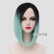 Lolita 40CM Women Party Black Mixed Light Green Straight Bob Ombre Cosplay Wig