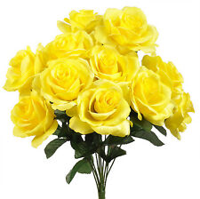 Yellow  12 Open Long Stem Roses Silk Wedding Flowers Bouquets Centerpieces Decor