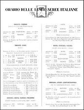 ORARI DELLE LINEE AEREE ITALIANE COMPAGNIE S.I.S.A. -TRANSATLANTICA VENEZIA 1927