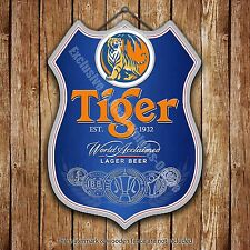 Tiger Lager Beer Classic Advertising Bar Pub Metal Pump Badge Shield Steel Sign