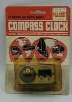Vintage 1980's Quartz Digital Car Clock Compass NOS