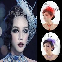 Net Feather Bridal Headdress Wedding Face Veil