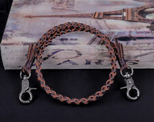 "22"" Genuine Leather Braided Twisted Trucker Rocker Biker Key Jean Wallet Chain"