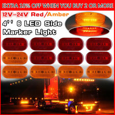 """12x Red+Amber Camper Trailer RV Light 6LED Surface Mount Clearance Marker 4""""x2"""""""