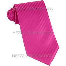 New Vesuvio Napoli Polyester Woven Men's Neck Tie necktie Stripes prom Hot Pink