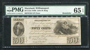 1840'S 50 CENTS MARYLAND, WILLIAMSPORT OBSOLETE REMAINDER PMG GEM UNC-65EPQ