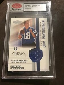 2002 Score QBC Materials # 20 Untouched Peyton Manning Blue Relic Indy/Denver