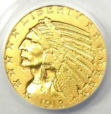 "1913-S Indian Gold Half Eagle $5 Coin - Certified ANACS AU55 - Rare ""S"" Mint!"