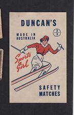 Ancienne étiquette allumettes  de paquet Australie  BN11551 Femme Ski