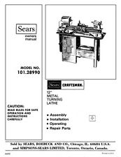 Craftsman  101.28990 12 metal lathe owners manual Instructions