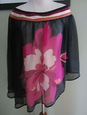 bebe Black Pink Floral Poncho Blouse Top Cover Up Size M