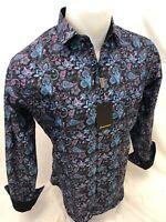Mens PREMIERE PAISLEY Long Sleeve BUTTON UP Dress Shirt BLACK PINK MULTICOLOR 05