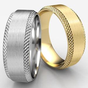 Beveled Cross Hatched Edge Man Men's Women's Ring 8mm Wedding Band White Gold
